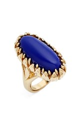 Metal Stone Women's And Claw Wrapped Oblong Ring Gold Lapis