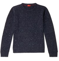 Isaia Donegal Cashmere Blend Sweater Blue