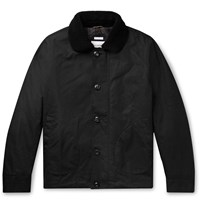 Freemans Sporting Club Shearling Trimmed Waxed Cotton Jacket Black