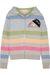 Marc Jacobs Appliqued Striped Jersey Hooded Top Gray