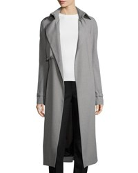 Thierry Mugler Houndstooth Trench Coat W Grommet Flap Navy Off White
