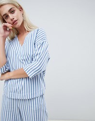 Moss Copenhagen Relaxed Shirt In Summer Stripe Co Ord Blue And White