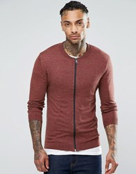 Asos Knitted Cotton Bomber Jacket In Muscle Fit Chestnut Twist Brown