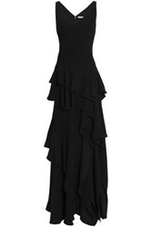 Halston Tiered Ruffled Crepe Gown Black