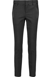 Vince Leather Trimmed Stretch Wool Slim Leg Pants Gray
