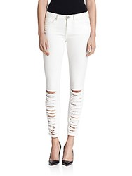 Elie Tahari Azella Shredded Skinny Jeans Optic White