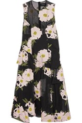 Simone Rocha Floral Embroidered Cotton Blend Tulle Midi Dress Black