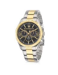Maserati Competizione Two Tone Stainless Steel Men's Watch Silver