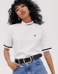 Fred Perry High Neck Logo Tee White