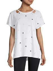 Marc New York Short Sleeve Printed Cut Out Top White