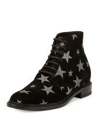 Saint Laurent Dylan Star Print Desert Boot Black Nero
