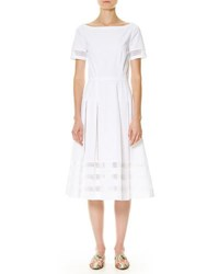 Carolina Herrera Short Sleeve Cotton A Line Dress White