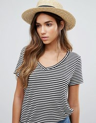 Vero Moda Ribbon Straw Hat Tan