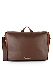 Robert Graham Mulberry Leather Messenger Bag Brown