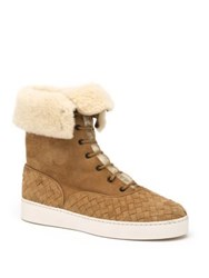Bottega Veneta Leather And Shearling Cuff Lace Up Boots Camel
