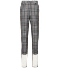 Y Project Checked Wool Blend High Rise Pants Grey