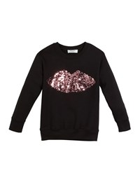 Milly Minis Sweatshirt W Moveable Sequin Lips Black