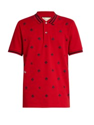 Gucci Bee Embroidered Pique Polo Shirt Blue Multi