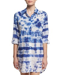 Lablanca Tie Dye Long Sleeve Shirtdress Coverup Blueberry