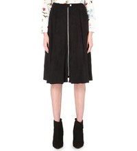 Warehouse Suedette Midi Skirt Black