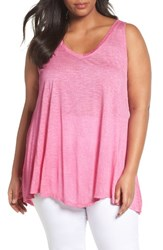 Sejour Plus Size Women's Triangle Knit Tank Pink Raspberry