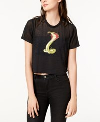 Hudson Jeans Cropped Graphic T Shirt Worn Out Black