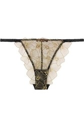 Coco De Mer Danae Silk Blend Satin And Embroidered Tulle Briefs Black