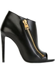 Tom Ford Side Zip Peep Toe Ankle Boots Black