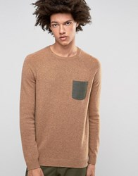 Asos Lambswool Rich Jumper With Contrast Woven Pocket Camel Brown