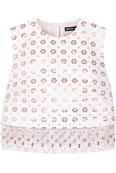 Markus Lupfer Cotton Blend Jacquard And Embellished Silk Organza Top Ivory