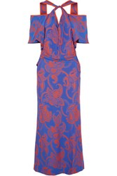 Roland Mouret Cliffon Cutout Printed Crepe Maxi Dress Blue