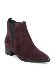 Marc Fisher Yale Croco Print Leather Boots Burgundy