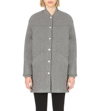 Eleven Paris Dropped Shoulder Wool Blend Coat Grey Chine