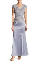 Sangria Lace Bodice Gown Petite Gray