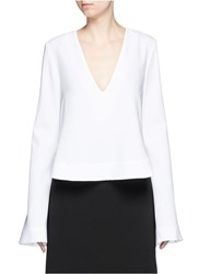 Ellery 'Humilis' Wide Sleeve Cropped Top White
