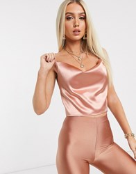 Parisian Satin Crop Cami Top In Blush Pink