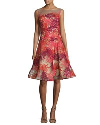 Naeem Khan Coral Embroidered Illusion Cocktail Dress