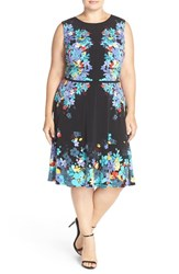 London Times Plus Size Women's Placed Floral Print Fit And Flare Dress