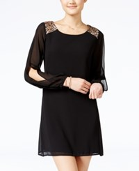 Sequin Hearts Juniors' Split Sleeve Shift Dress Black