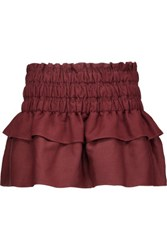 Etoile Isabel Marant Krista Tiered Pleated Linen Blend Mini Skirt Burgundy