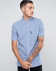 Lambretta Check Shirt With Shorts Sleeves Blue