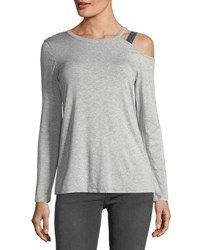 Marled By Reunited One Shoulder Cutout Tee Light Gray
