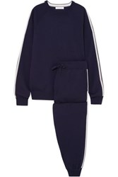 Olivia Von Halle Missy Paris Silk Blend Sweatshirt And Track Pants Set Navy