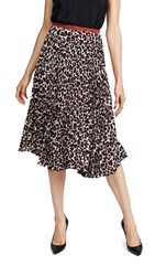 Loyd Ford Pleated Double Layer Skirt Leopard