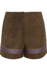 Zeus Dione Mahi Embroidered Suede Shorts Army Green