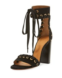Chloe Laced Suede Ankle Cuff Sandal Black