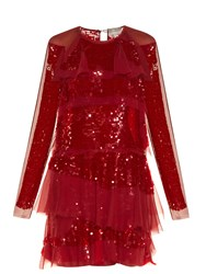 Lanvin Long Sleeved Tiered Sequin Dress
