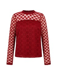 Yumi Patchwork Lace Top Burgundy