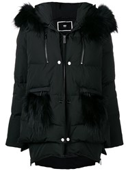 Max And Moi Fur Hooded Puffer Jacket Black