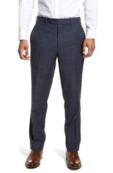 Jb Britches 'S Big And Tall Flat Front Plaid Wool Trousers Blue